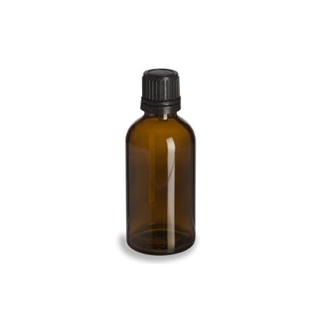 BUTELIUKAS (rudo stiklo su juodu plastikiniu kamšteliu), 50ml